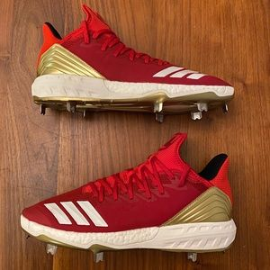 Adidas Icon 4 Red Metal Baseball Cleats